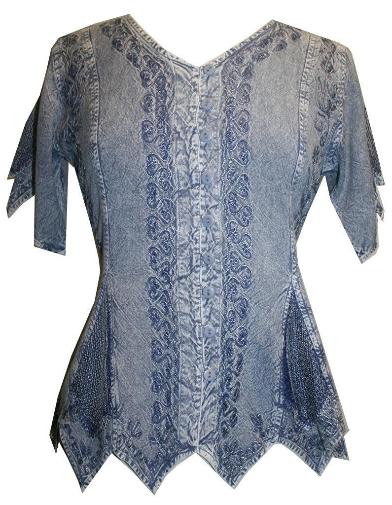 Gypsy Medieval Netted Assymetrical Vintage Top Blouse - Agan Traders, Lilac