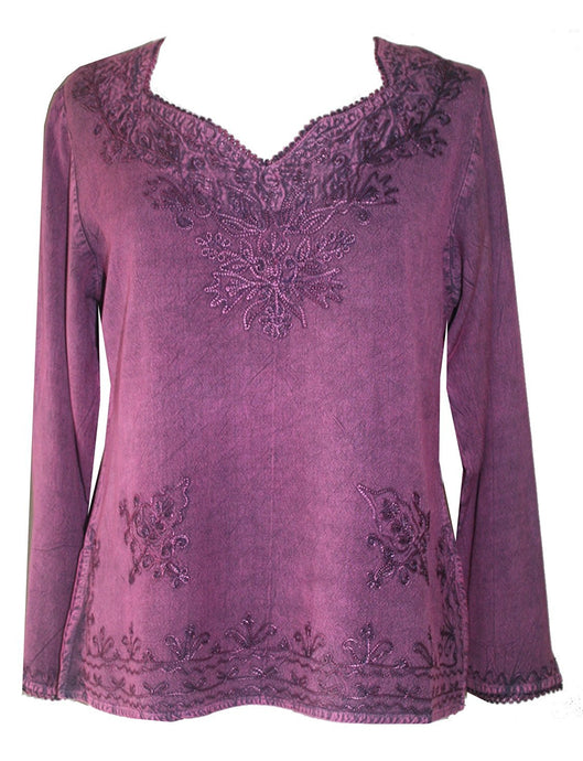 Diamond Neck Renaissance Embroidered Blouse - Agan Traders, Plum