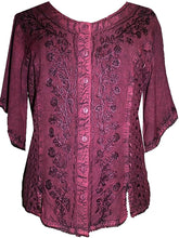 Scooped Neck Medieval  Embroidered Blouse - Agan Traders, Burgundy