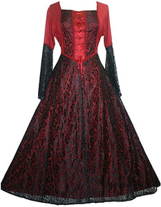 Medieval Vintage Corset Lace Two Tone Renaissance Dress Gown - Agan Traders, Black Red