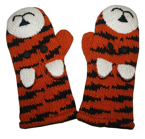 Animal Glove Wool Fleece Lined Warm Soft Adult Teenagers Outdoor Activities Ski Mitten - Agan Traders, Tiger Mitten