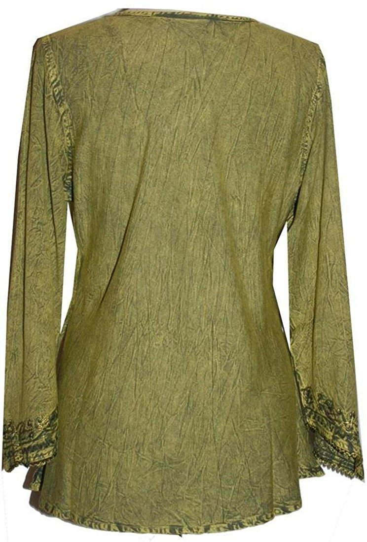 Embroidered Rayon Renaissance Blouse - Agan Traders, Lime Green C