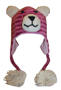 2-Ply Wool Adult Animal Hat - Agan Traders, Pink Tiger