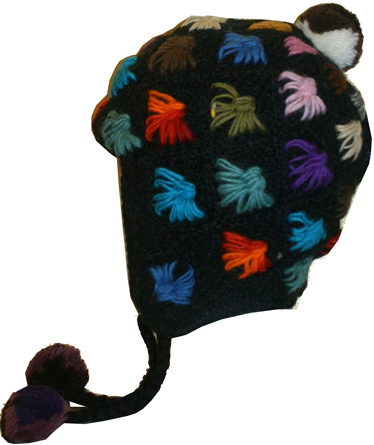 Highland Wool Knit Beanie Fleece Earflap Beanies - Agan Traders, Black Multi 2