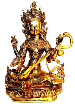 Bronze Large Saraswati Goddess of Wisdom Statue Fair Trade [6.0 X 12.0 inches; 10 lb] - Agan Traders