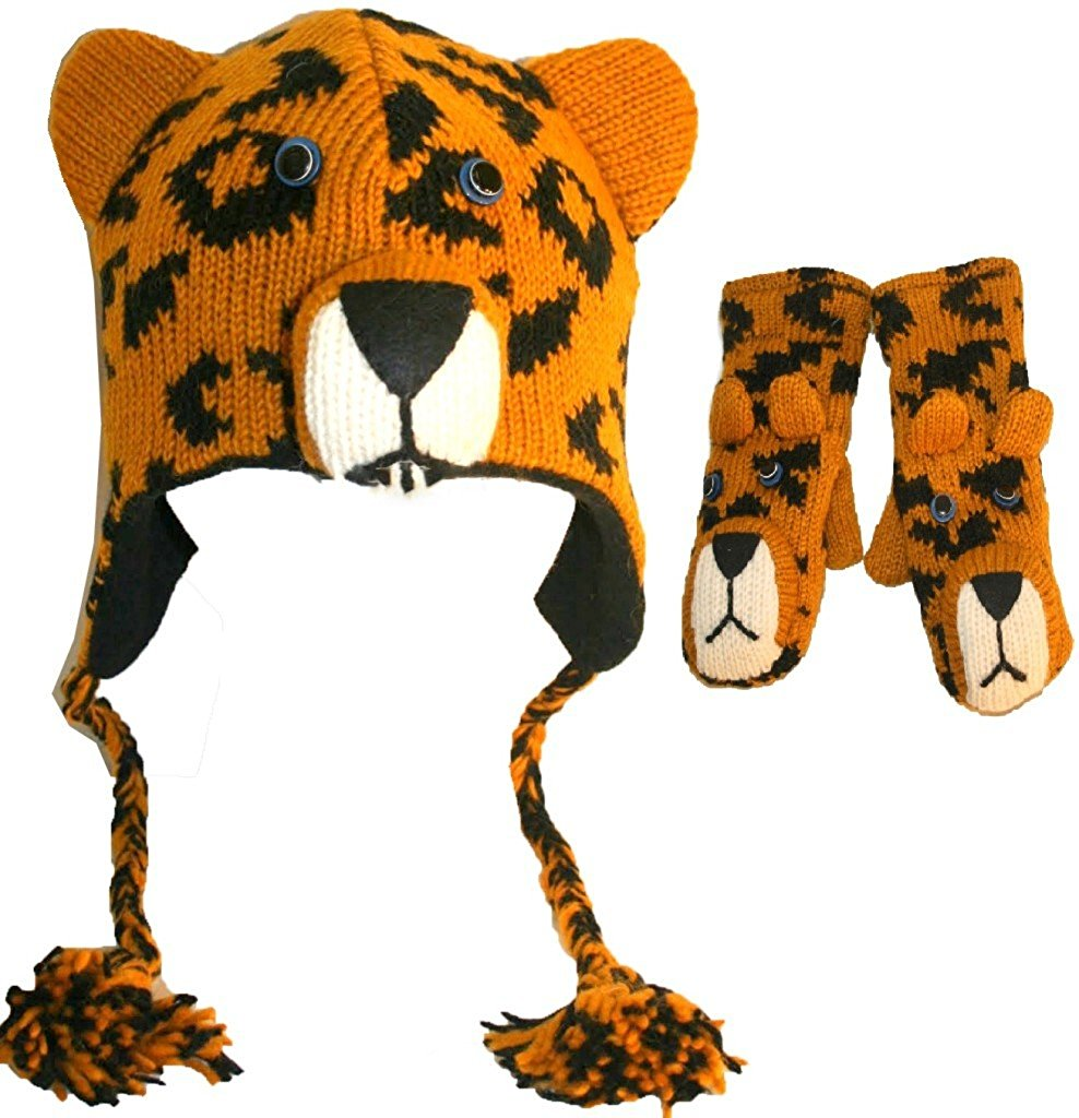 Soft Warm Knit Wool Fleece Lined Flap Trapper Assorted Animal Hat Mitten Set - Agan Traders, Leopard Set