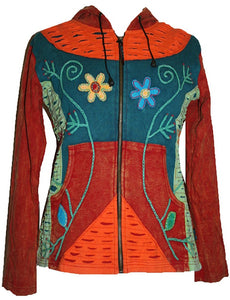 Rib Cotton Peace Sun Star Patch Bohemian Hoodie Jacket - Agan Traders
