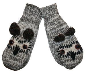 Animal Glove Wool Fleece Lined Warm Soft Adult Teenagers Outdoor Activities Ski Mitten - Agan Traders, Owl Grey New