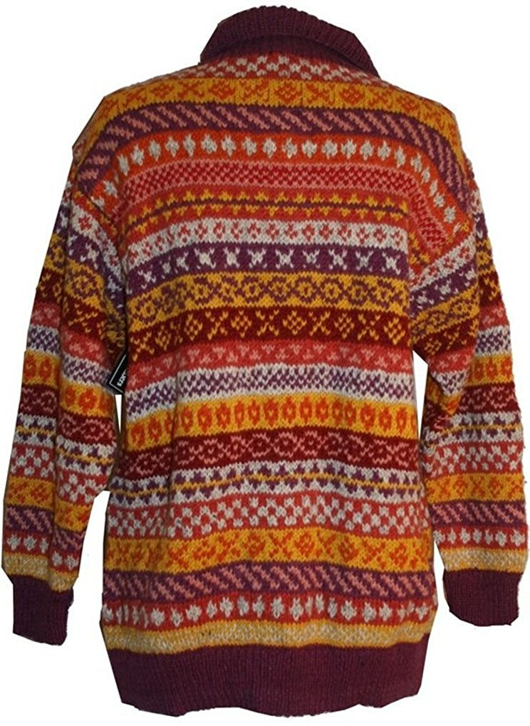 Wool Cardigan Sweater Hand knitted in Nepal - Agan Traders