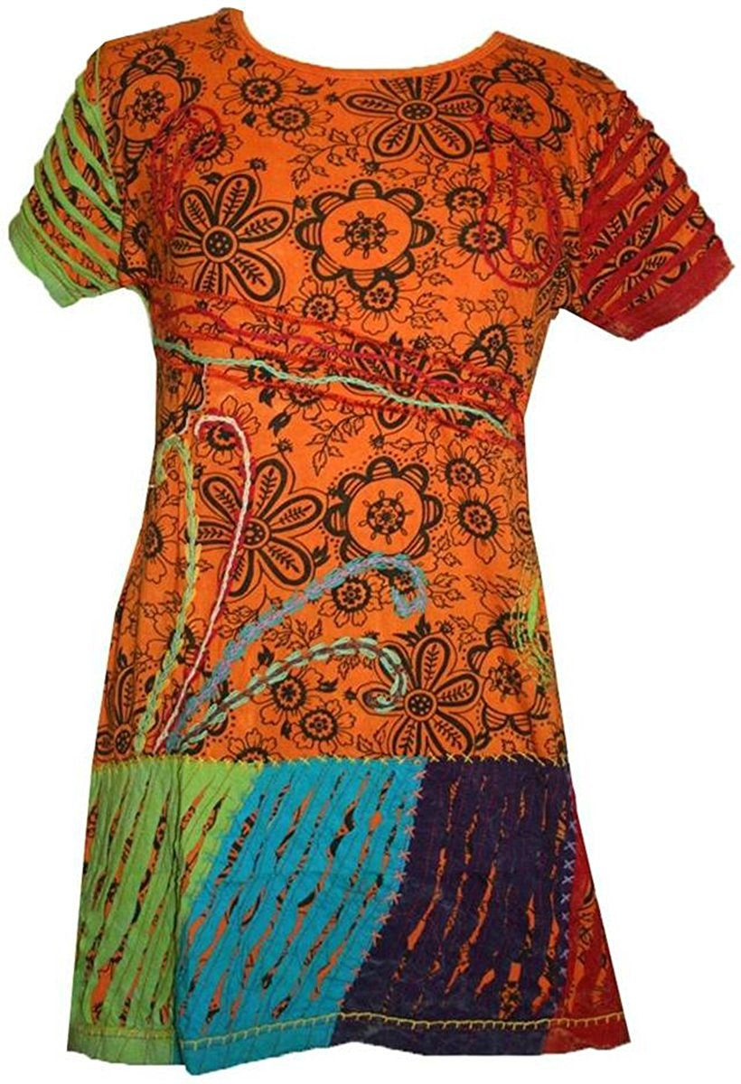 Knit Viscose Razor Cut Embroidered Light Weight Summer Short Baby Doll Dress - Agan Traders, Orange Multi