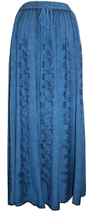 712 SK Agan Traders Medieval Embroidered Long Skirt - Agan Traders, Blue 2