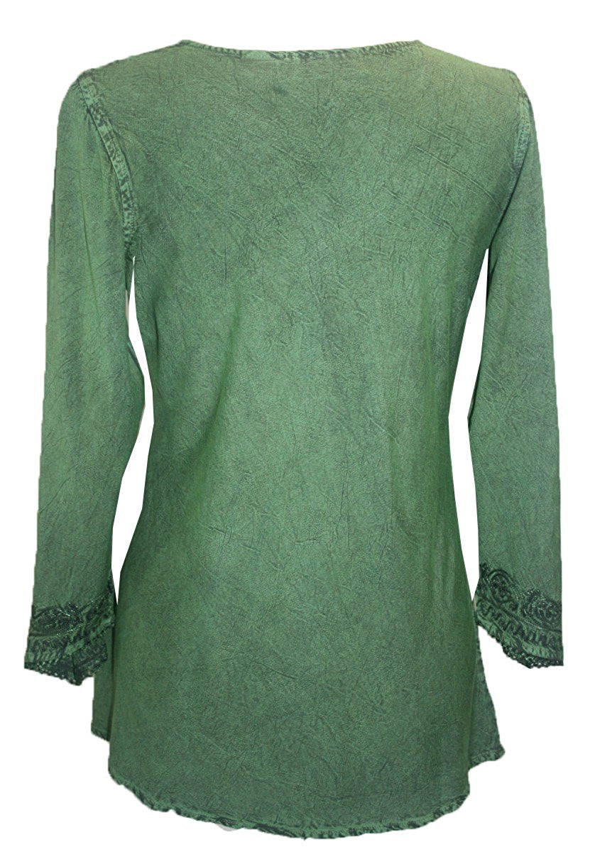 Embroidered Rayon Renaissance Blouse - Agan Traders, E Green