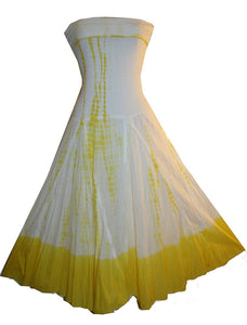Cotton Tie Dye Gypsy Halter Tube Dress - Agan Traders, Yellow