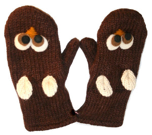 Animal Glove Wool Fleece Lined Warm Soft Adult Teenagers Outdoor Activities Ski Mitten - Agan Traders, Brown Owl Mitten