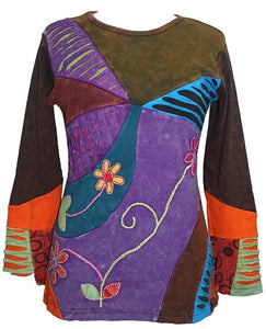 Rib Cotton Patched Embroidered Bohemian Gypsy Blouse - Agan Traders, Purple