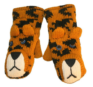 Animal Glove Wool Fleece Lined Warm Soft Adult Teenagers Outdoor Activities Ski Mitten - Agan Traders, Leopard