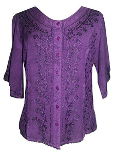 Scooped Neck Medieval  Embroidered Blouse - Agan Traders, Purple