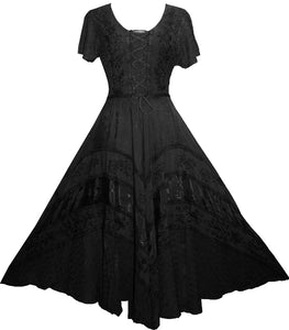 Rayon Embroidered Flare Gothic Corset Dazzling Dress Gown - Agan Traders, Black