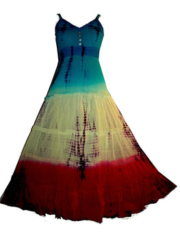 TD-01 Sheer Light Sumer Vacation Empire Peasant Tiered Dress Gown - Agan Traders