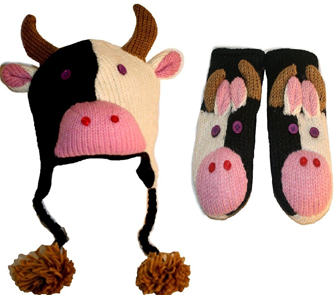 Soft Warm Knit Wool Fleece Lined Flap Trapper Assorted Animal Hat Mitten Set - Agan Traders, Cow Set