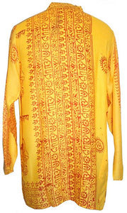 Goddess Script Printed Yoga Tunic Rayon Shirt - Agan Traders, Yellow