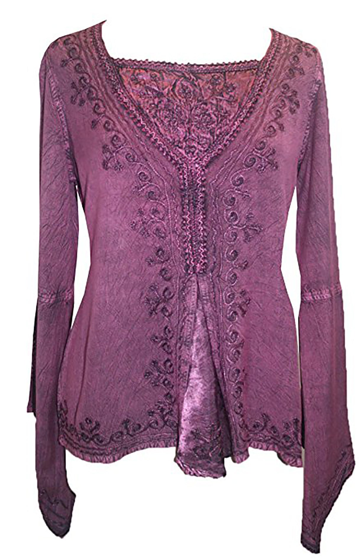 Renaissance Gypsy Bell Sleeve Blouse Top - Agan Traders, Plum