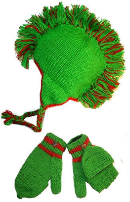 Agan Traders Hand Knitted 100% Wool Mohawk Hat Mitten Set One Size - Agan Traders, Green
