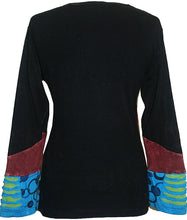 Rib Cotton Patched Embroidered Bohemian Gypsy Blouse - Agan Traders, Blue Multi