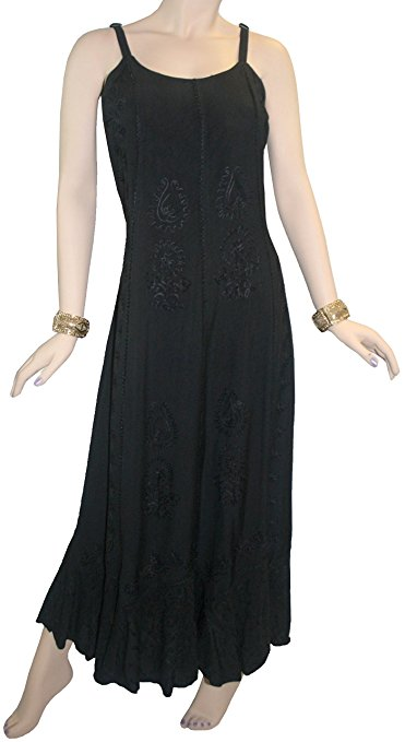 Rayon Embroidered Scalloped Hem Gypsy Spaghetti Strap Dress - Agan Traders, Black