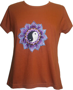 Ying Yang Embroidered Stretchy Yoga Tee - Agan Traders, Rusty Orange