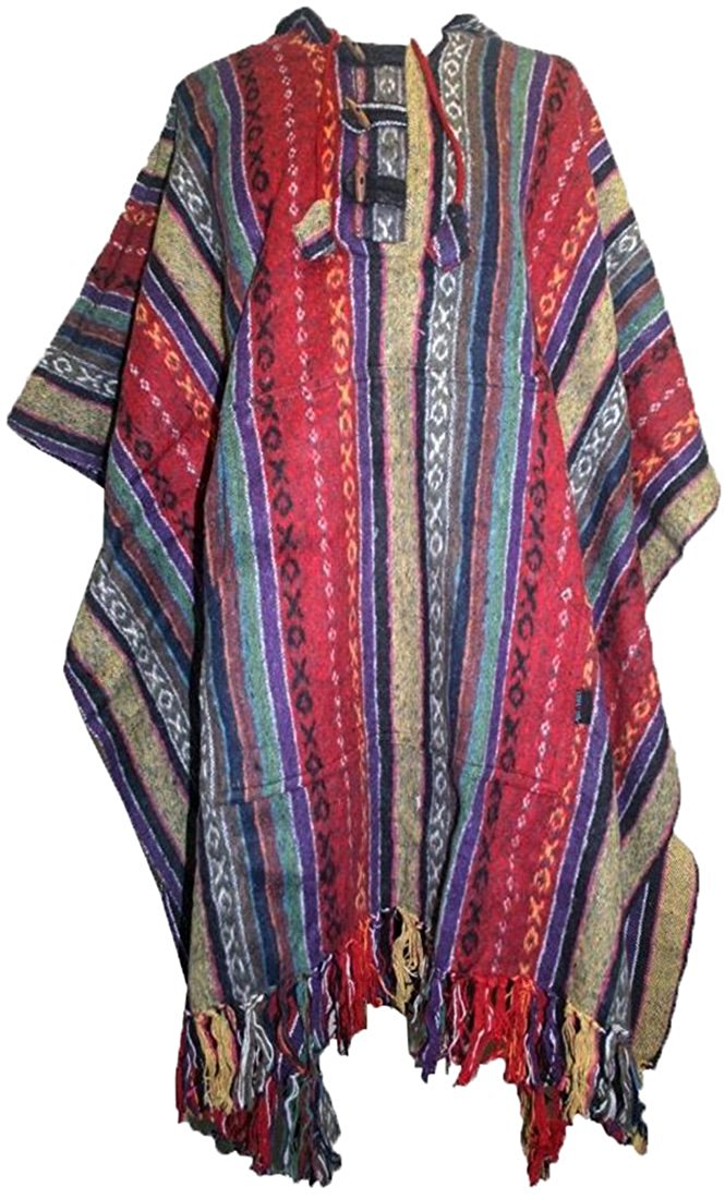 One Size Hooded Thick Heavy Duty Cotton Stripe Cape Poncho - Agan Traders, Red Multi