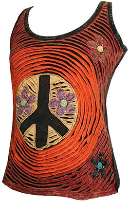 WTP 0062 Peace Symbol Razor Cut Tank Top Blouse - Agan Traders, Orange Multi