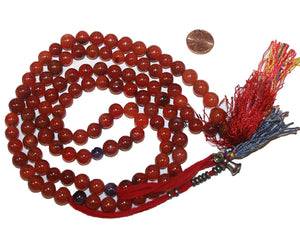 Agan Traders Original Tibetan Buddhist 108 Beads Prayer Meditation Mala - Agan Traders, Carnelian10mm