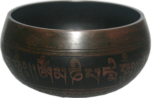 Assorted Sizes 500 600 SB Antique Tibetan Symbol Etching Singing Bowl Set - Agan Traders
