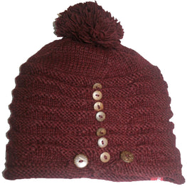 1414 Lamb's Wool Fashion Knit Fleece Hat- Agan Traders, Hat Burgundy