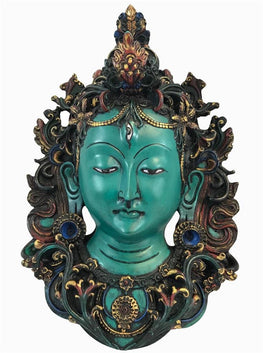 Resin Traditional Hindu Goddess Mask Wall Hangings Art Statue - Agan Traders, Turquoise