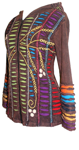 RJ 51 Agan Traders Bohemian Nepal Hoodie Gypsy Knit Cotton Patch Rib Jacket - Agan Traders, Brown Lime