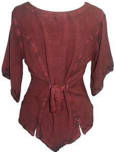 Scooped Neck Medieval  Embroidered Blouse - Agan Traders, Wine Burgundy
