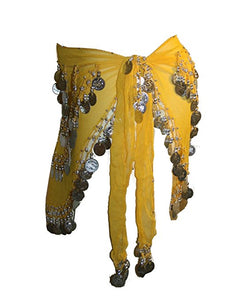 ST Agan Traders Belly Dancing Zumba Hip Coin Gypsy Hip Scarf - Agan Traders,  Yellow CR