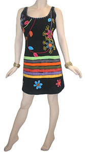 R 01 DR Agan Traders Knit Cotton Spaghetti Strap Flower Leaflets Sun Dress - Agan Traders, Black