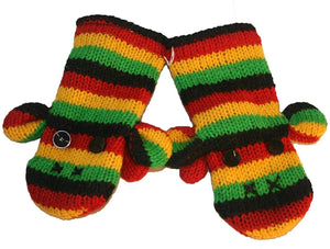 Animal Glove Wool Fleece Lined Warm Soft Adult Teenagers Outdoor Activities Ski Mitten - Agan Traders, Rasta Mitten