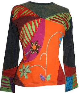 Rib Cotton Patched Embroidered Bohemian Gypsy Blouse - Agan Traders, Orange Multi
