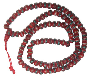 Tibetan Buddhist 108 Bead Prayer Meditation Wrist Necklace Mala - Agan Traders, Coral TQ 8mm