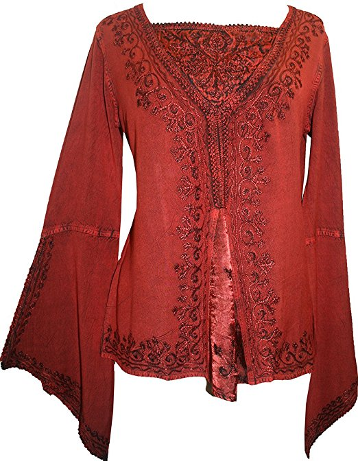 Renaissance Gypsy Bell Sleeve Blouse Top - Agan Traders, B Red