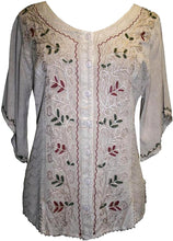 Scooped Neck Medieval  Embroidered Blouse - Agan Traders, Beige