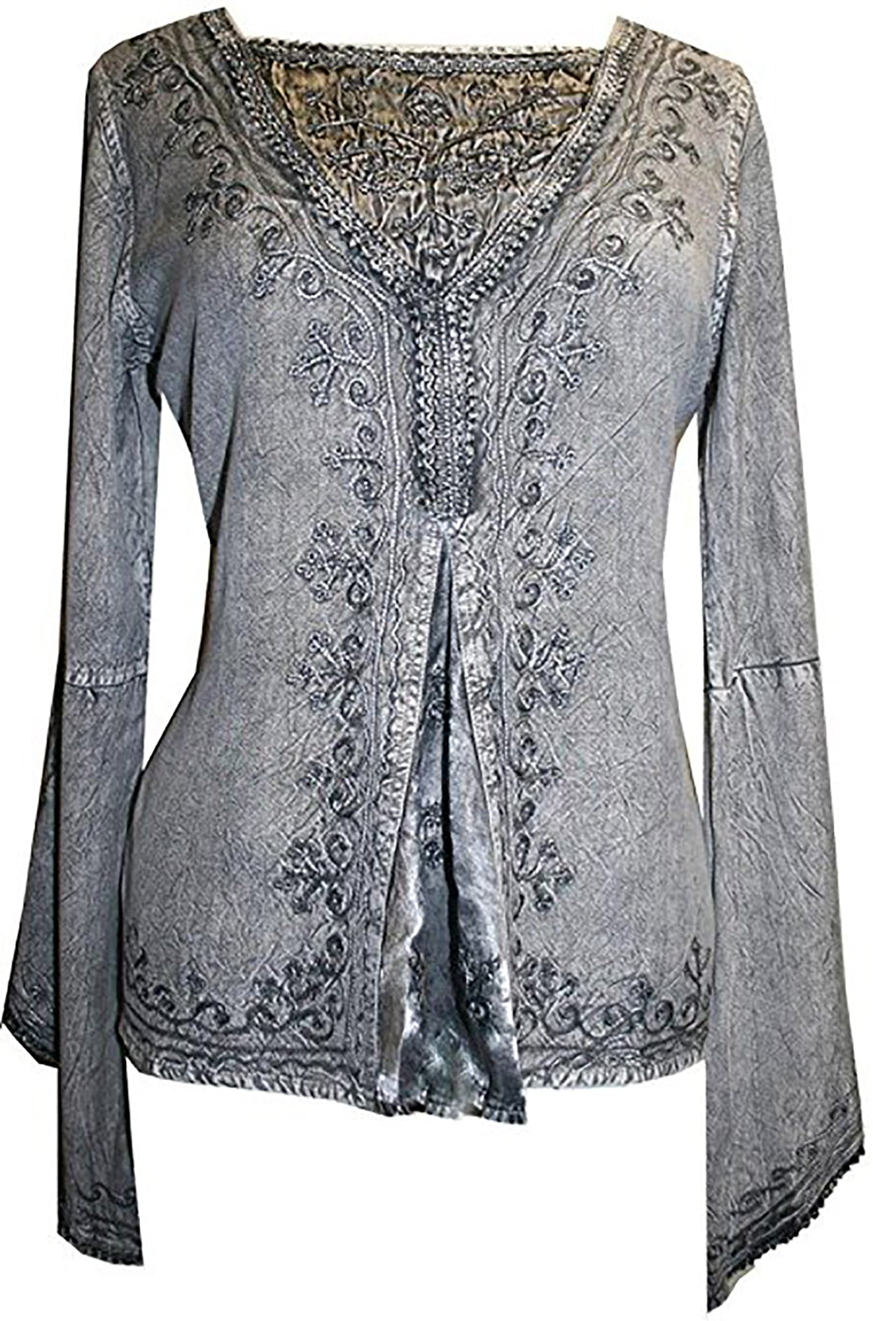 Renaissance Gypsy Bell Sleeve Blouse Top - Agan Traders, Silver / Gray