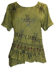 Medieval Renaissance Gypsy Ruffle Cross Blouse - Agan Traders, Lime Green C