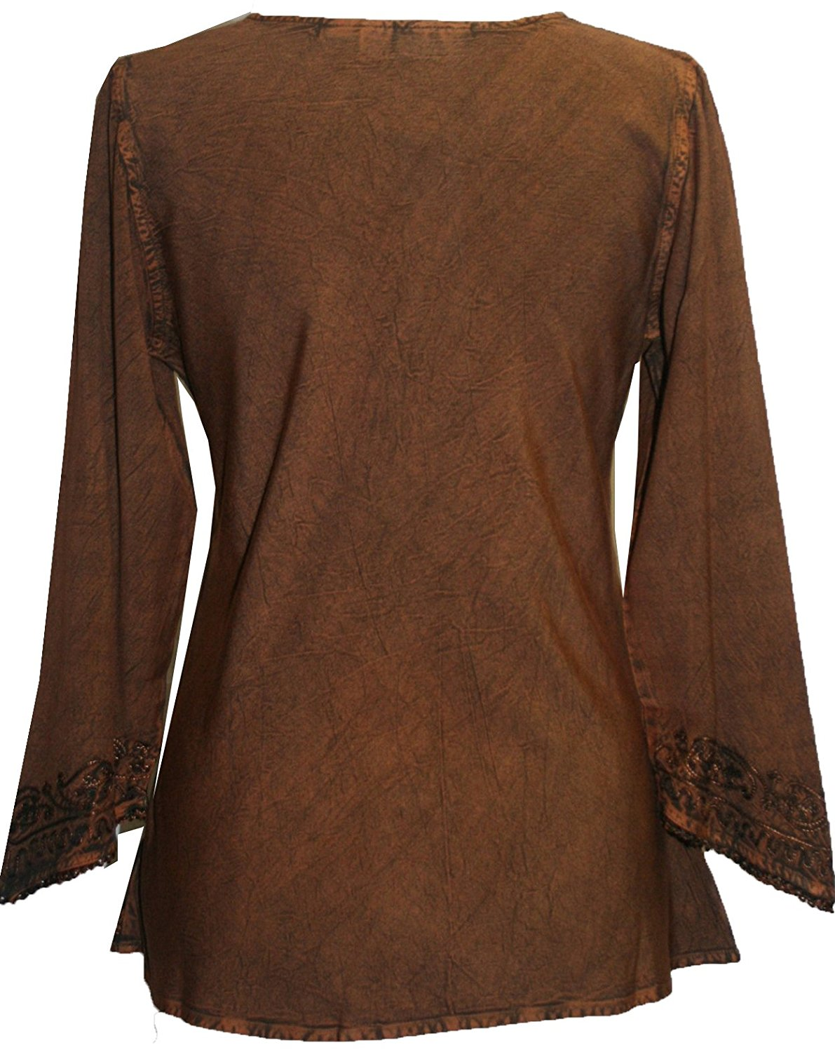 Embroidered Rayon Renaissance Blouse - Agan Traders, Rust