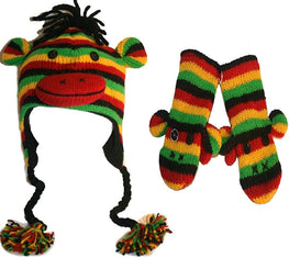Soft Warm Knit Wool Fleece Lined Flap Trapper Assorted Animal Hat Mitten Set - Agan Traders, Rasta Set