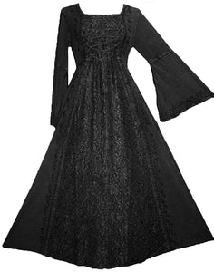 Net Medieval Vampire Gothic Renaissance Dress Gown - Agan Traders, Black